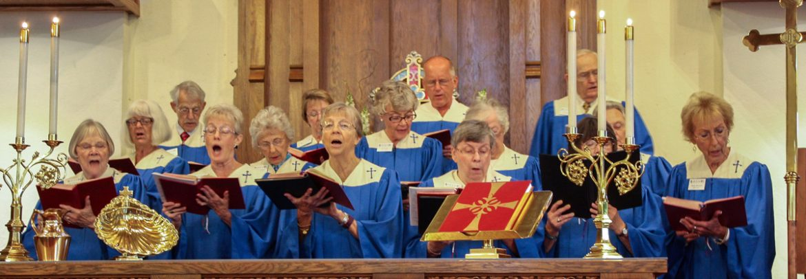 Church choir in blue robes